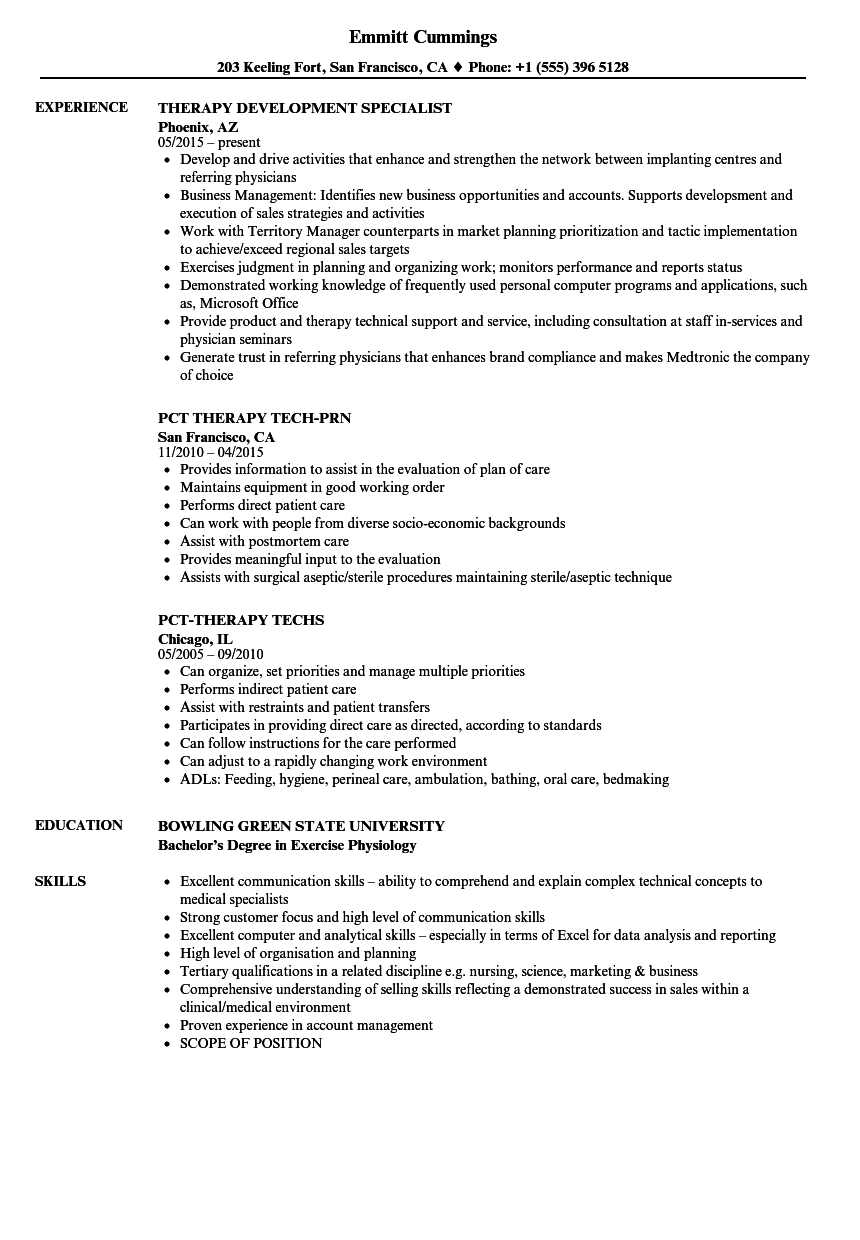 Therapy Resume Samples Velvet Jobs