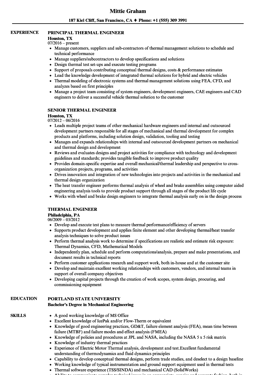Thermal Engineer Resume Samples | Velvet Jobs