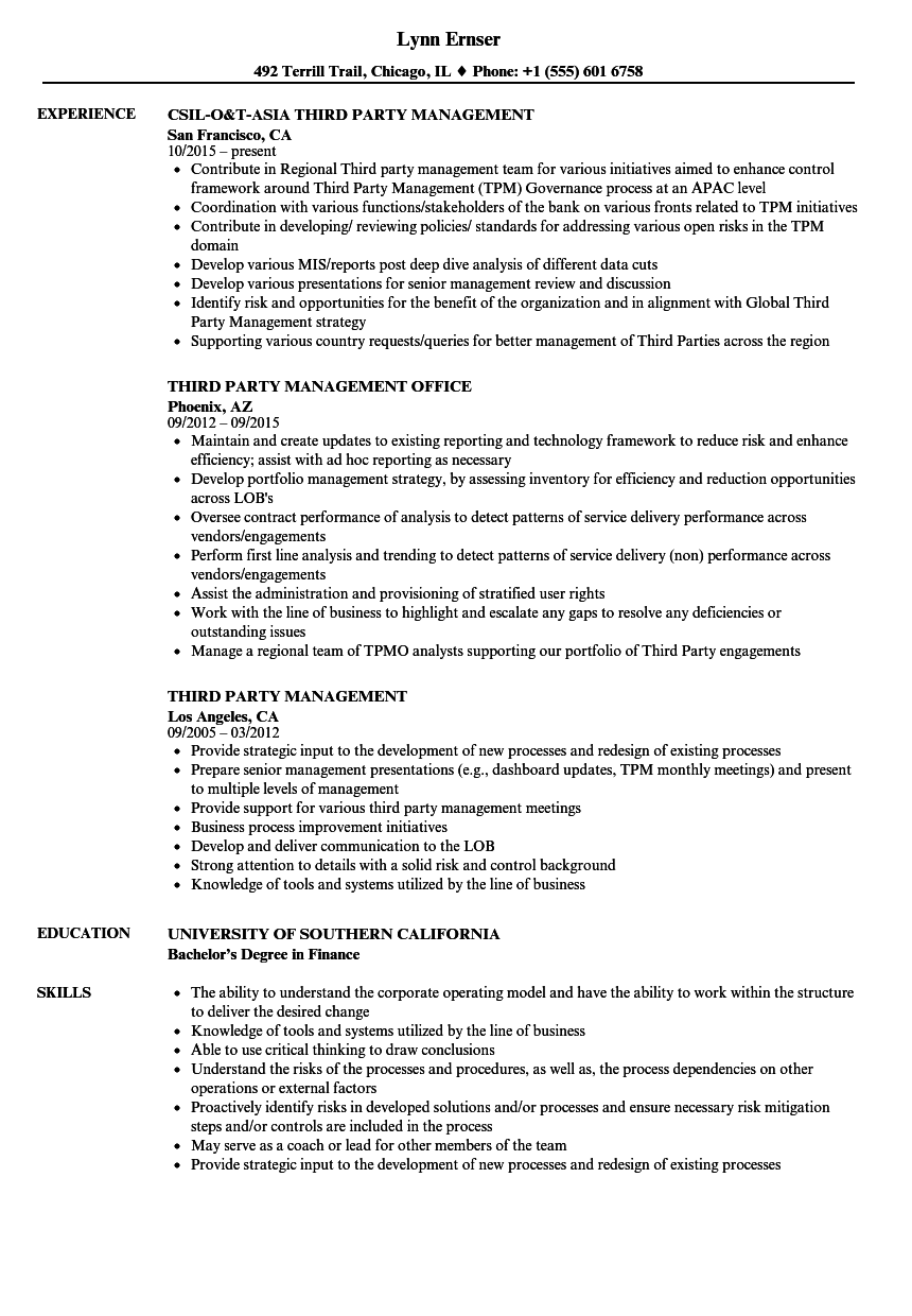 Prty Management Resume Samples | Third Party Management Resume Samples Velvet Jobs