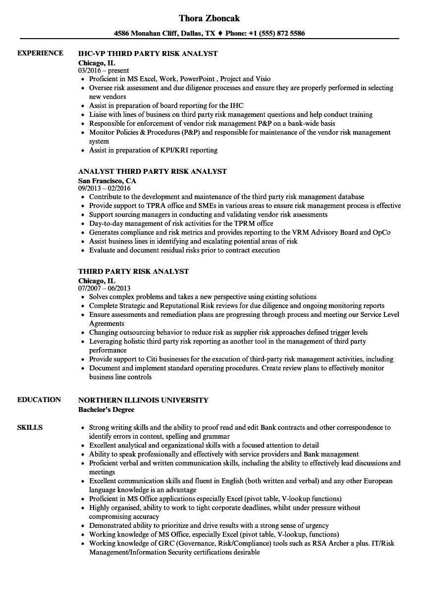 third party risk analyst resume samples