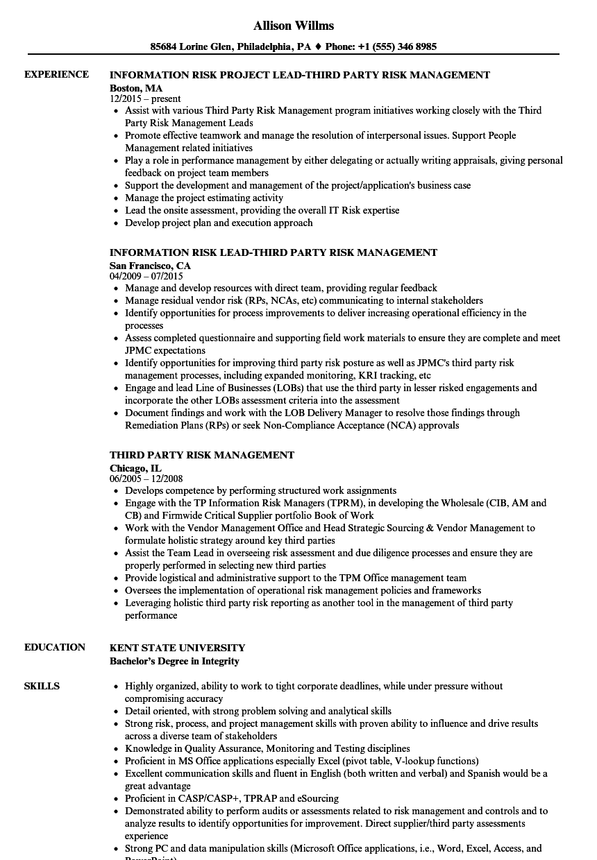Third Party Risk Management Resume Samples Velvet Jobs