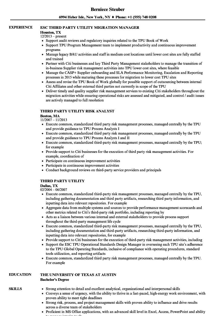 Third Party Utility Resume Samples | Velvet Jobs