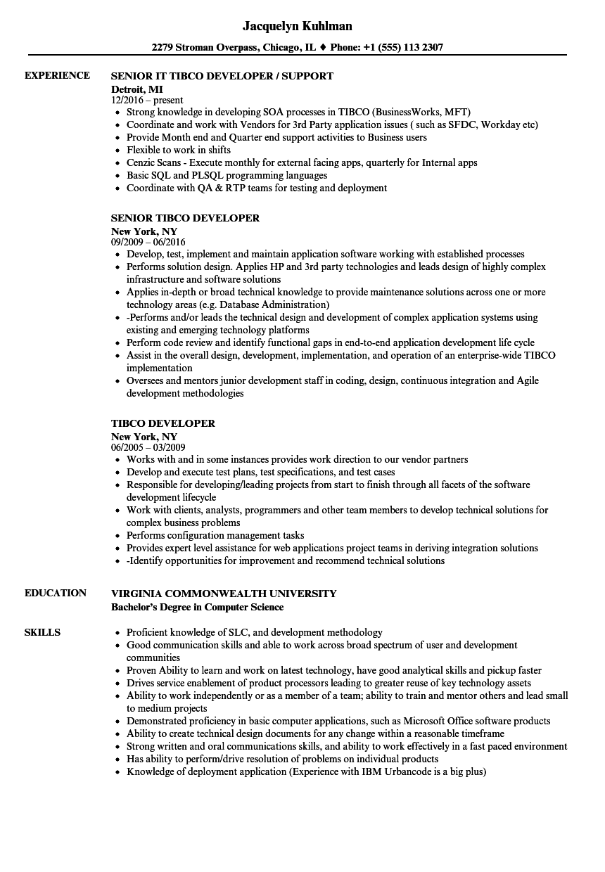 tibco developer resume samples