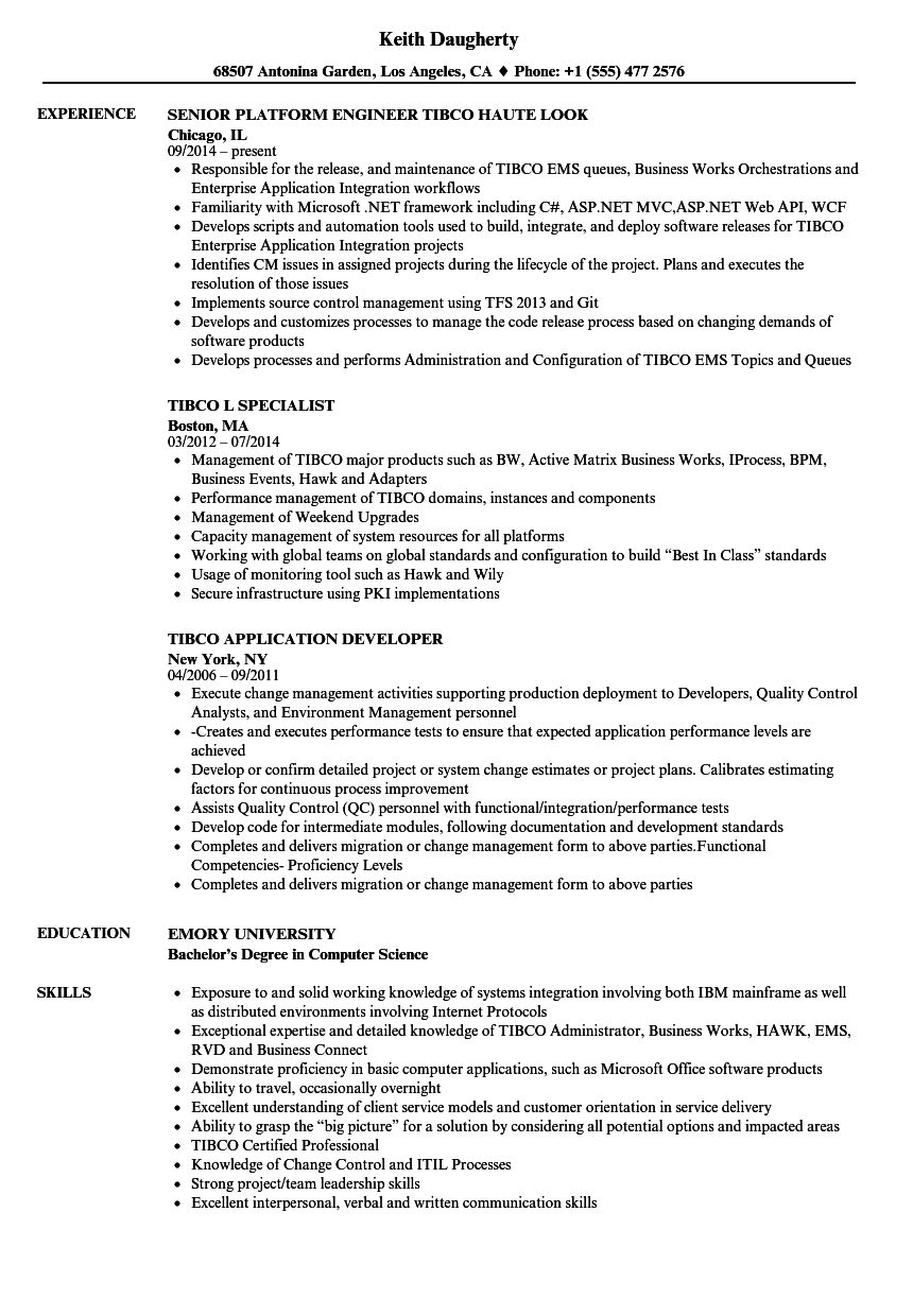 tibco resume samples