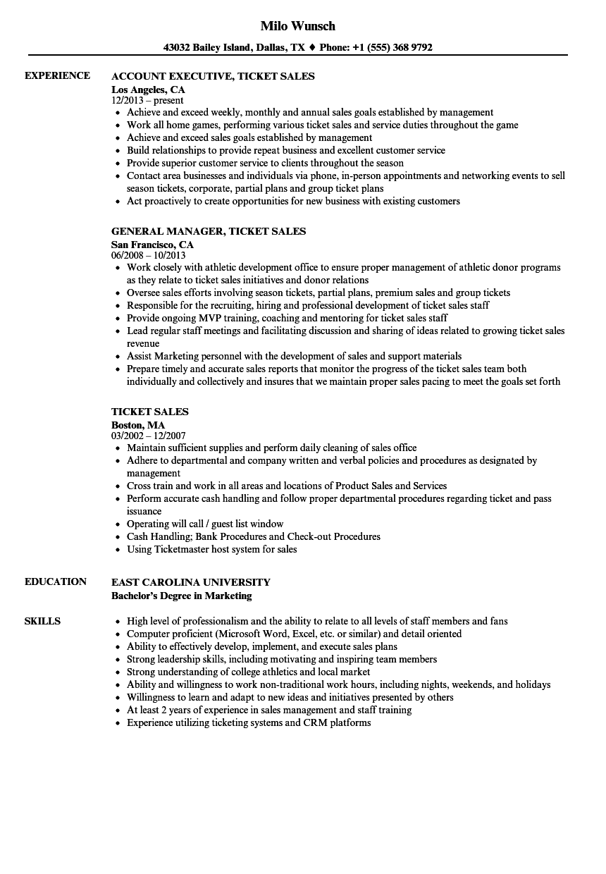 download ticket sales resume sample as image file - Cash Handling Resume