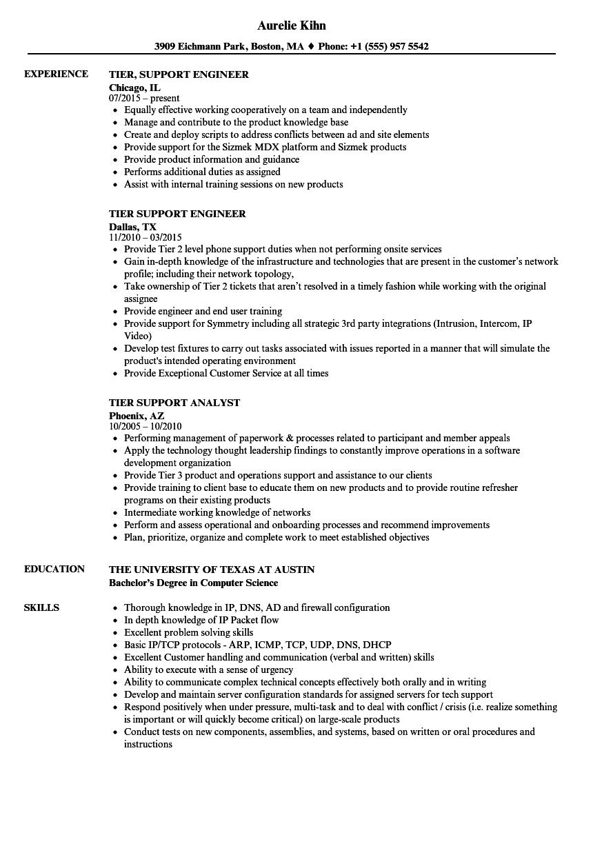 Tier Support Resume Samples Velvet Jobs