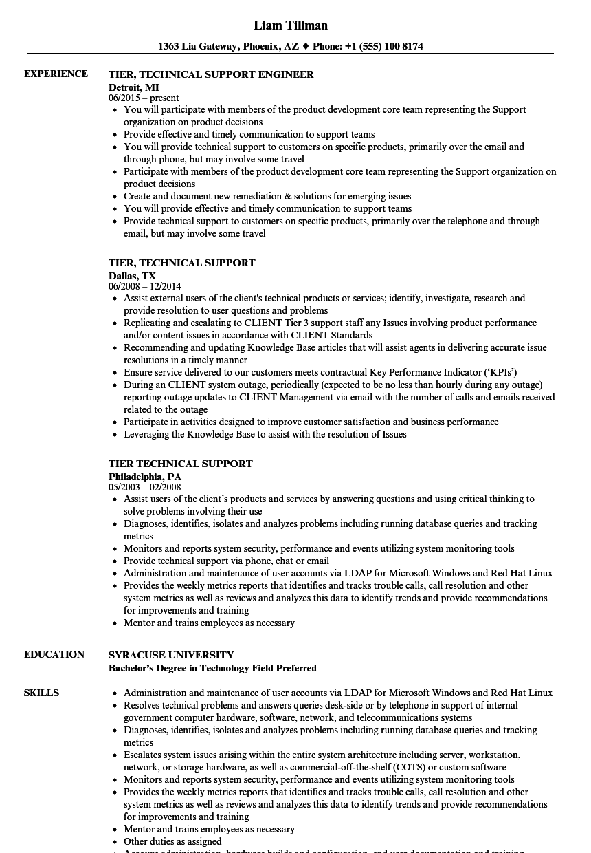tier technical support resume samples