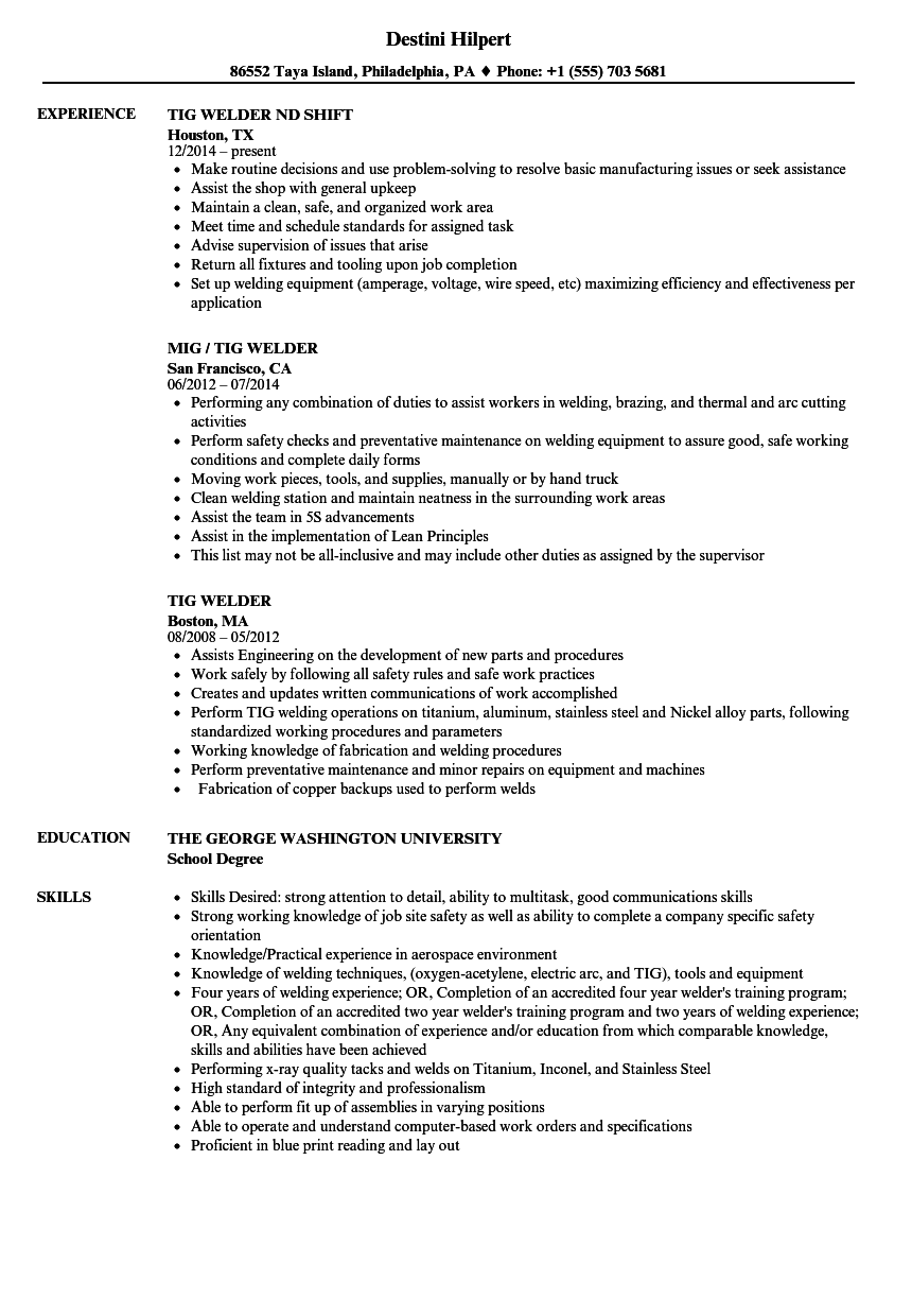 download tig welder resume sample as image file - Welder Resume Examples