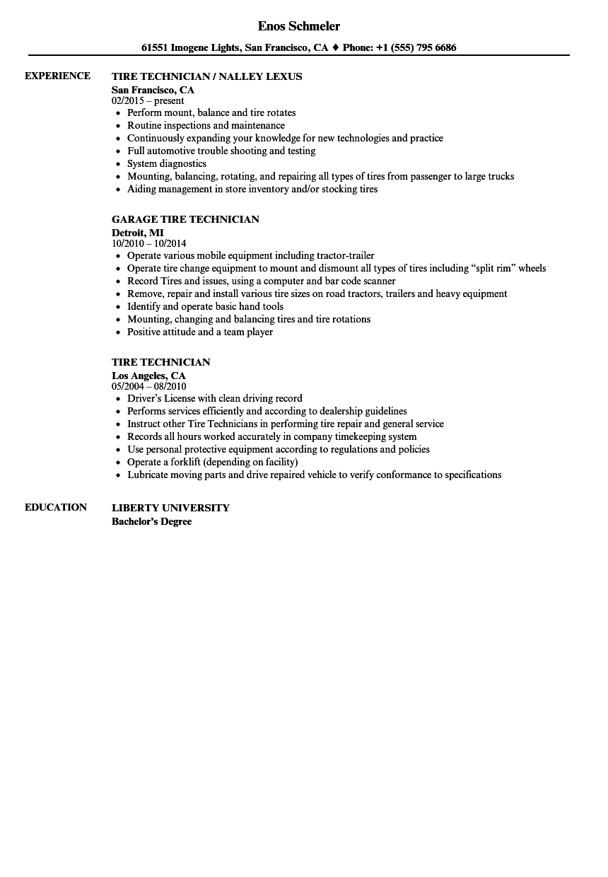 Tire Technician Resume Samples | Velvet Jobs