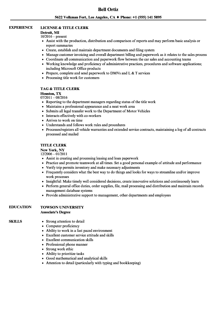 Title Clerk Resume Samples | Velvet Jobs