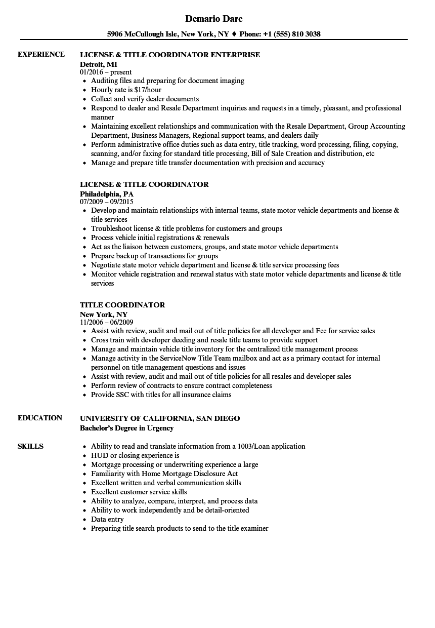 title coordinator resume samples