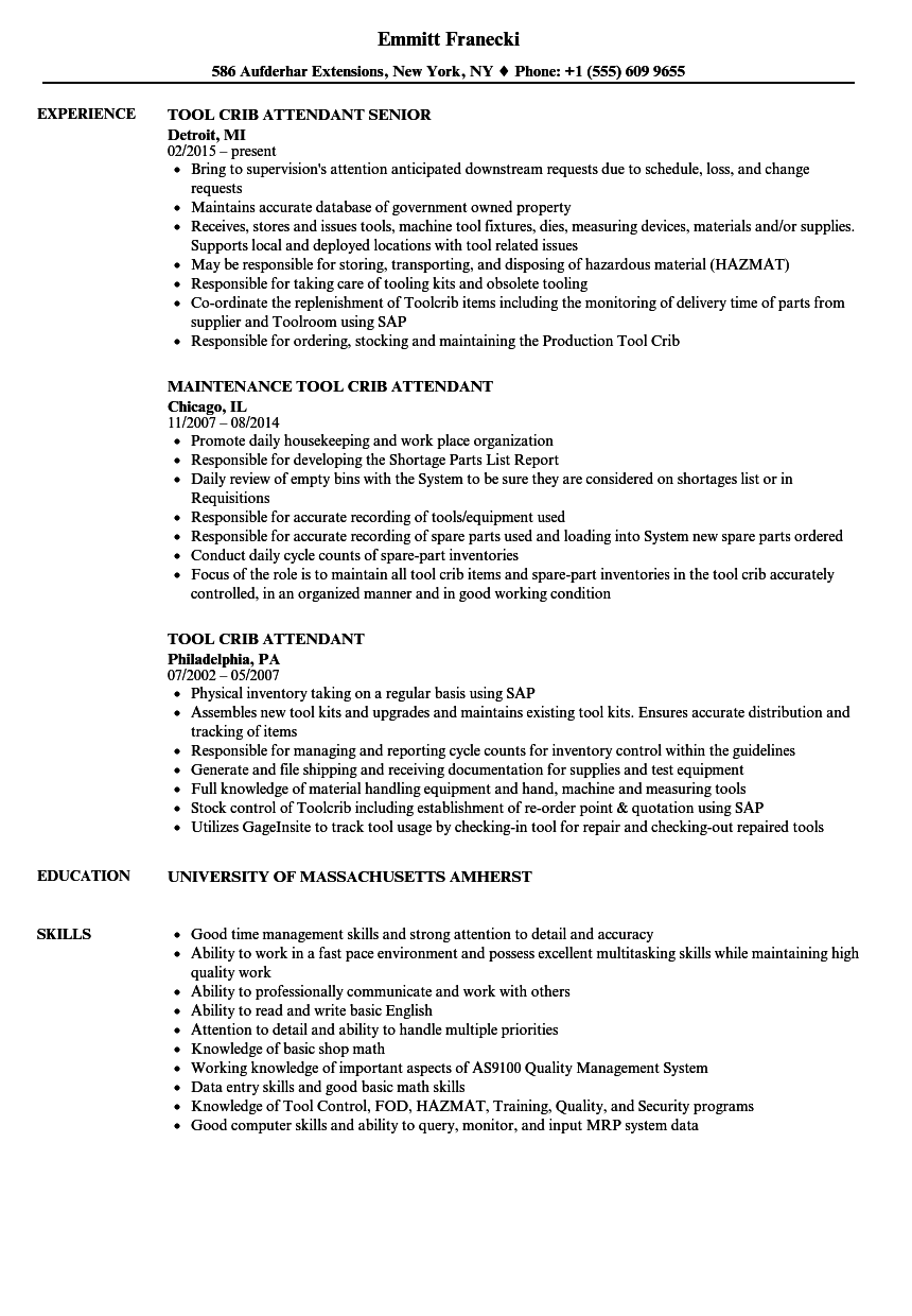 Tool Crib Attendant Resume Samples | Velvet Jobs