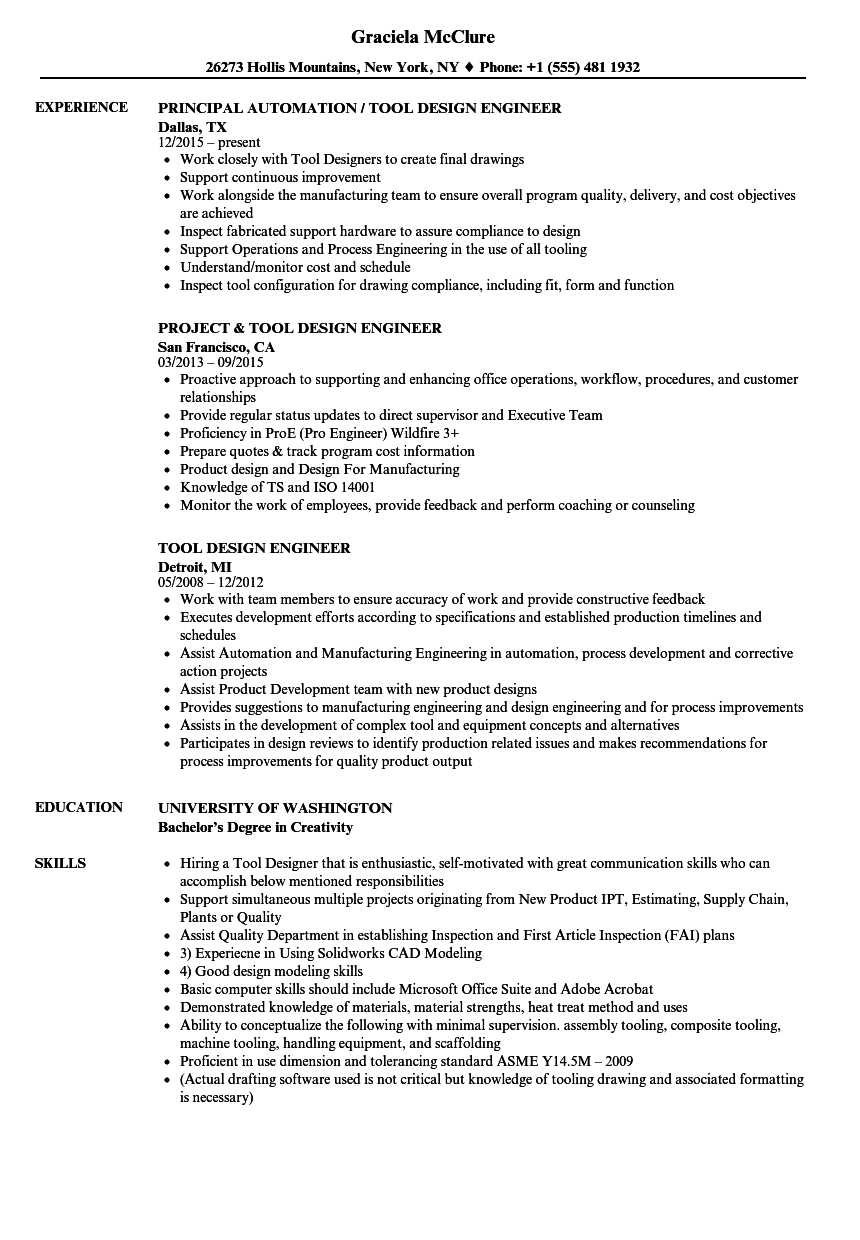 Tool Design Engineer Resume Samples Velvet Jobs