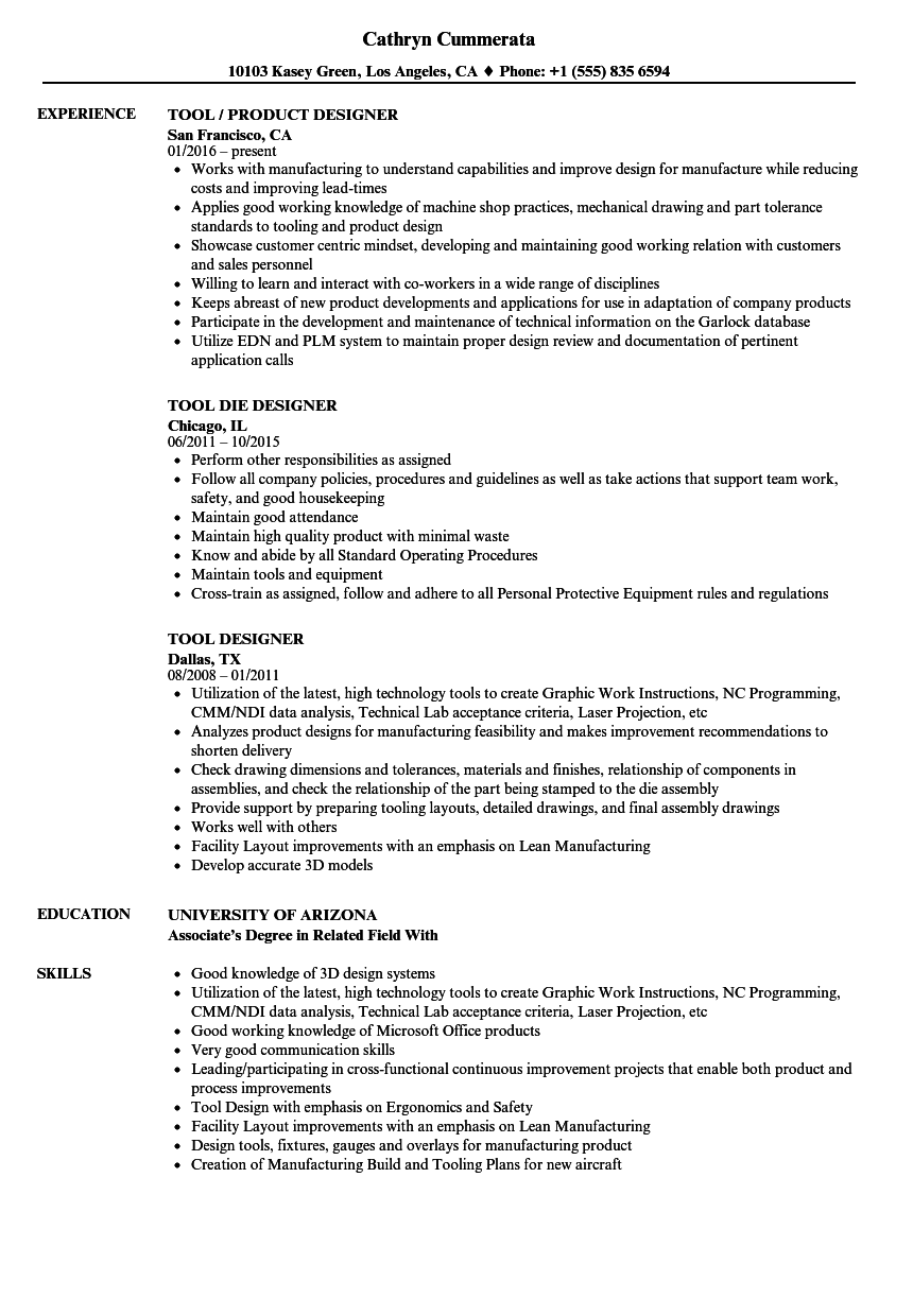 tool designer resume samples velvet jobs