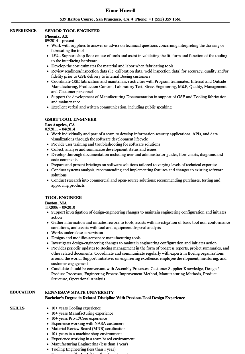 Tool Engineer Resume Samples | Velvet Jobs
