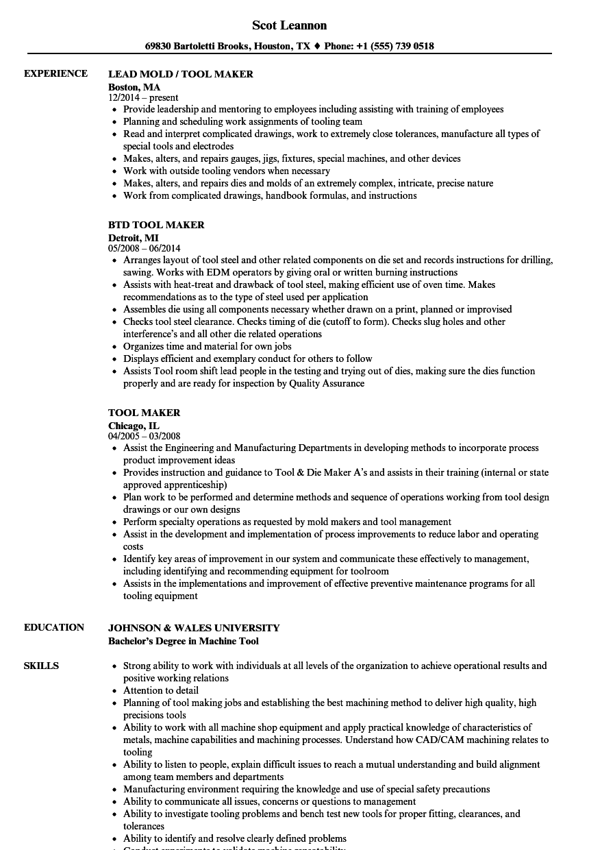 tool maker resume samples velvet jobs
