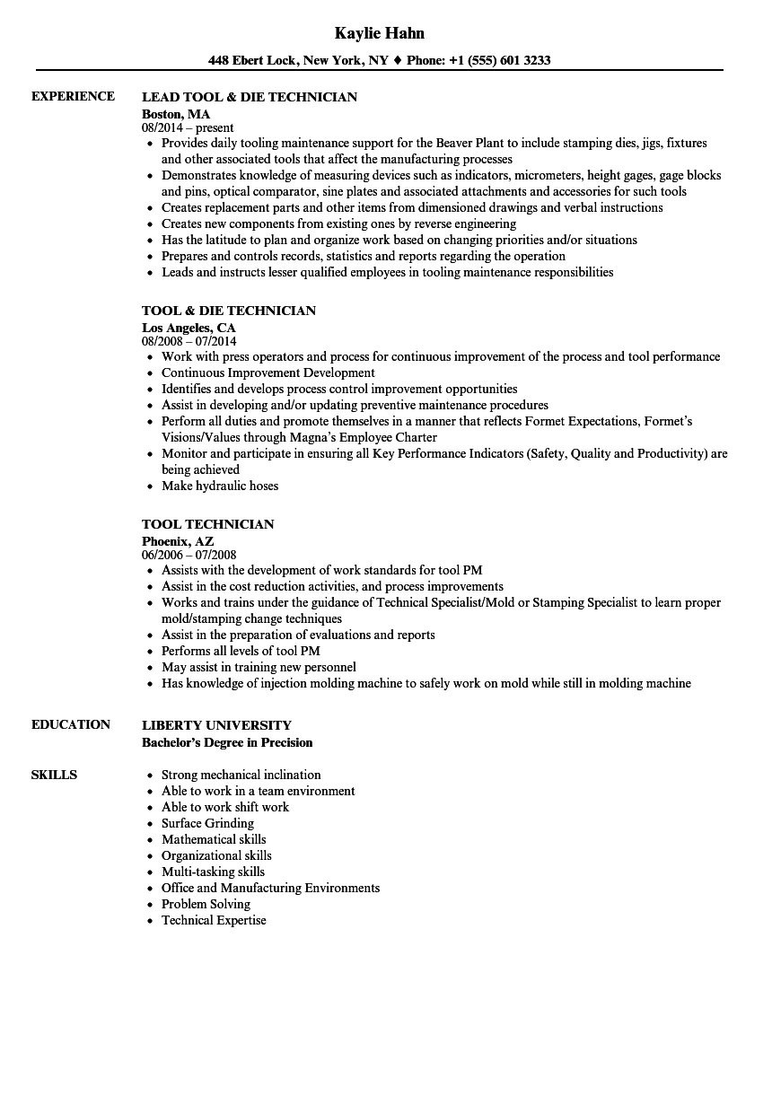 Tool Technician Resume Samples | Velvet Jobs