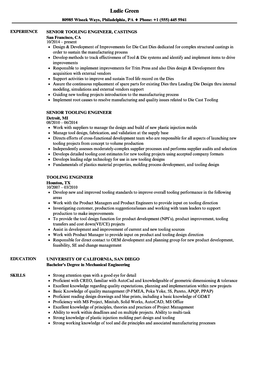 tooling engineer resume samples