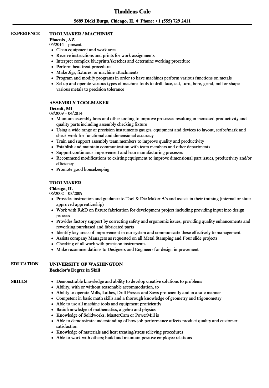 toolmaker resume samples
