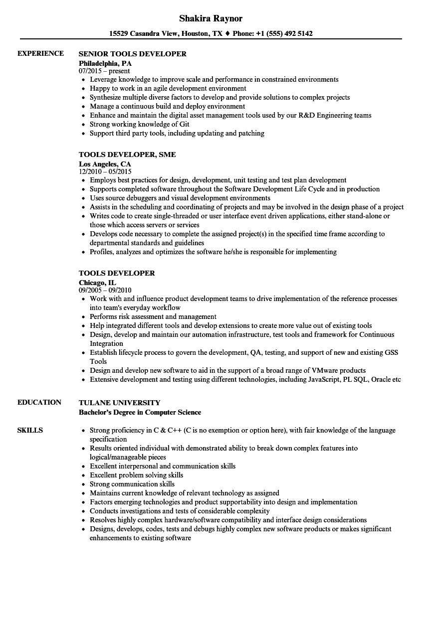 Tools Developer Resume Samples Velvet Jobs
