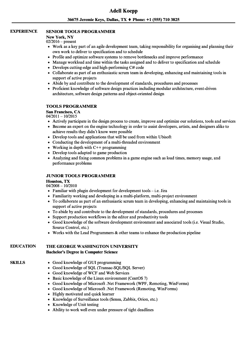 tools programmer resume samples velvet jobs