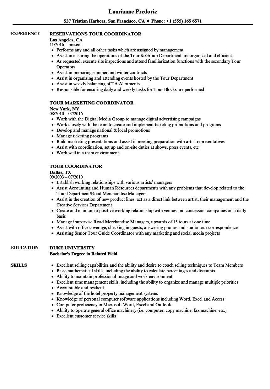 tour coordinator resume samples velvet jobs