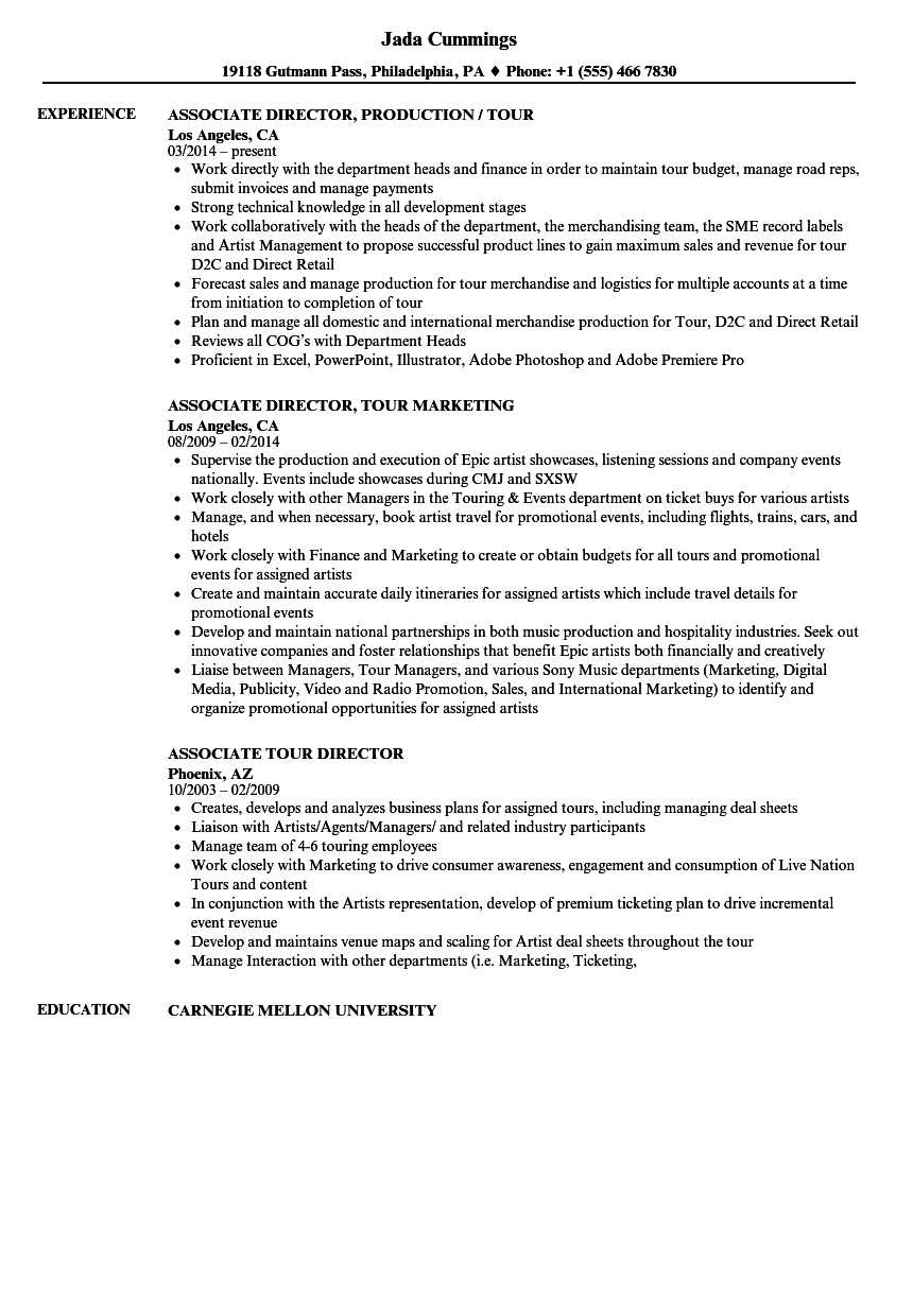 Tour Director Resume Samples | Velvet Jobs