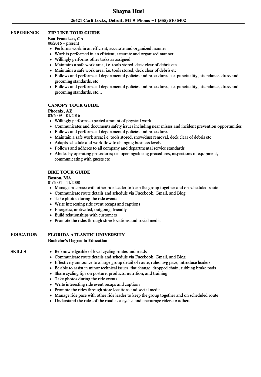Download Tour Guide Resume Sample As Image File