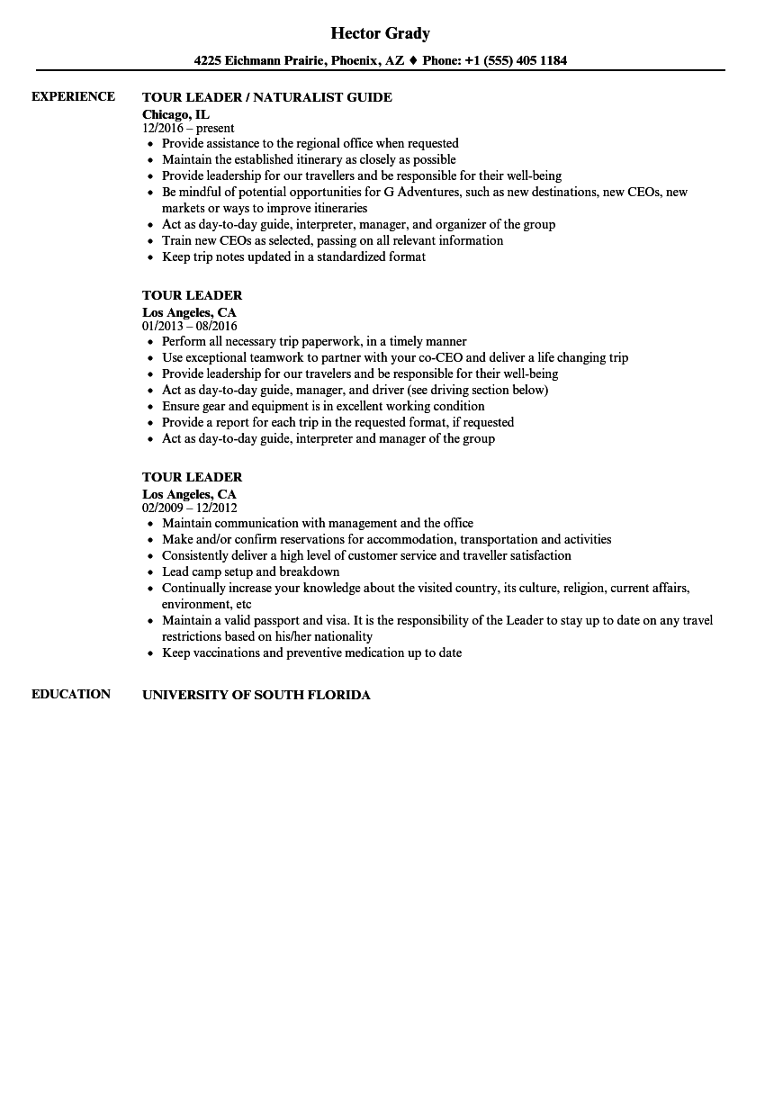 Download Tour Leader Resume Sample As Image File