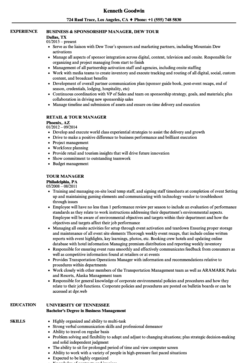 Tour Manager Resume Samples | Velvet Jobs