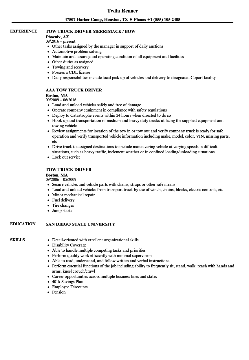 Tow Truck Driver Resume Samples | Velvet Jobs