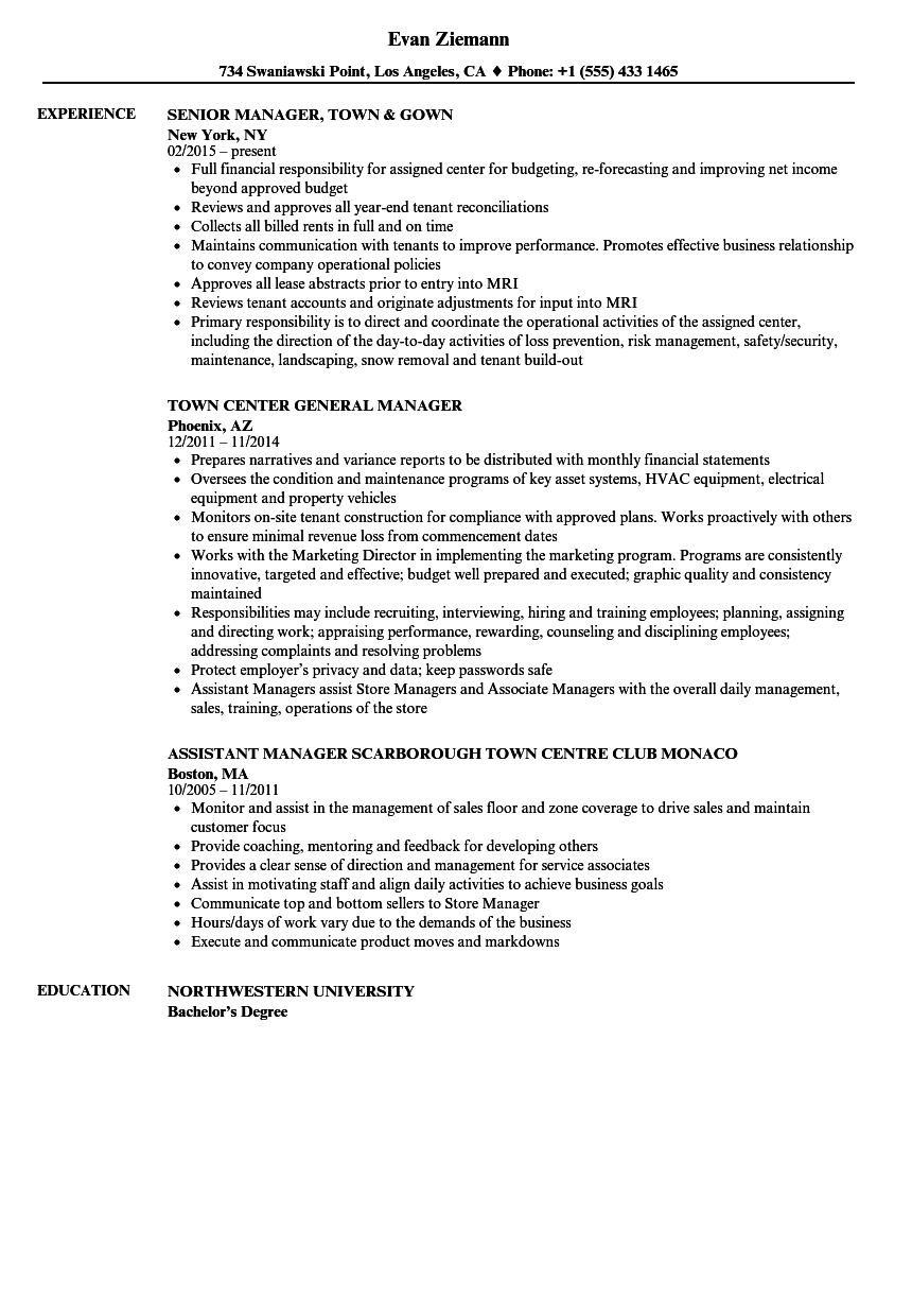 town manager resume samples