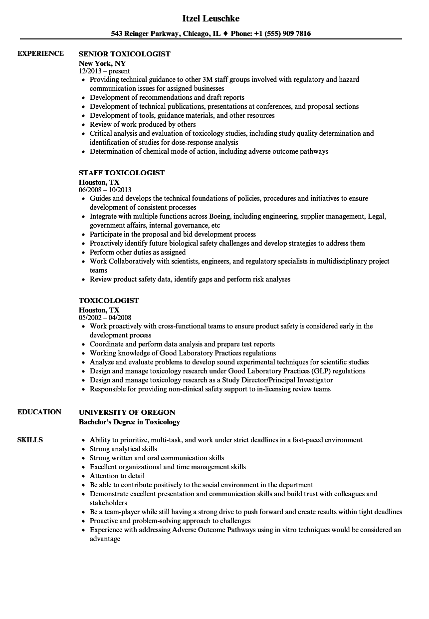Toxicologist Resume Samples | Velvet Jobs