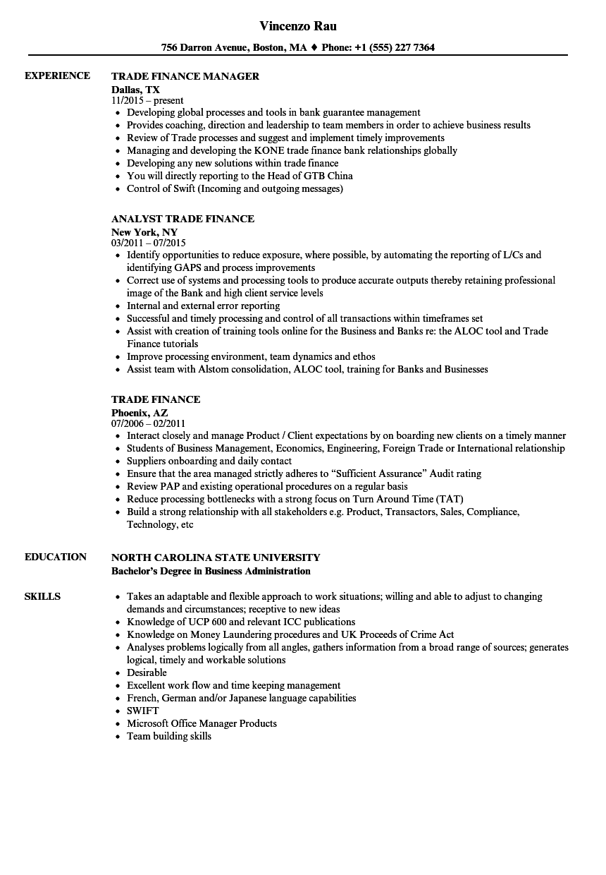 Trade Finance Resume Samples | Velvet Jobs