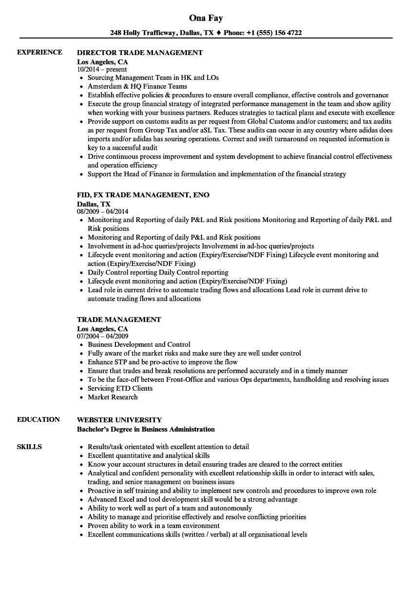 Trade Management Resume Samples | Velvet Jobs