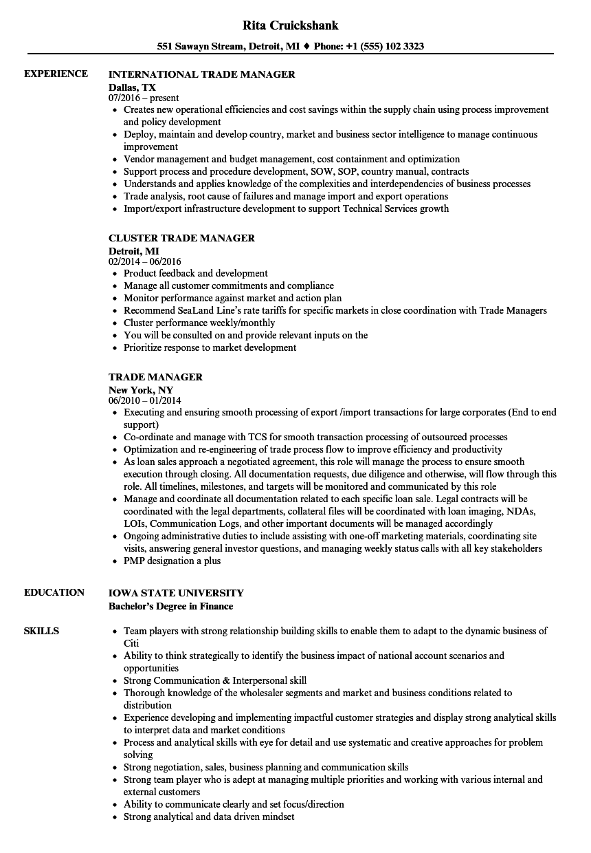 Trade Manager Resume Samples Velvet Jobs