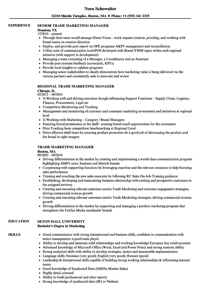 download trade marketing manager resume sample as image file - Marketing Manager Sample Resume