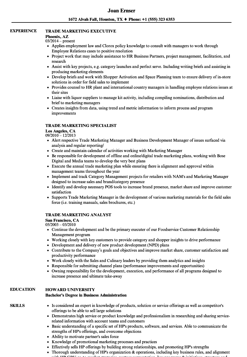 trade marketing resume samples
