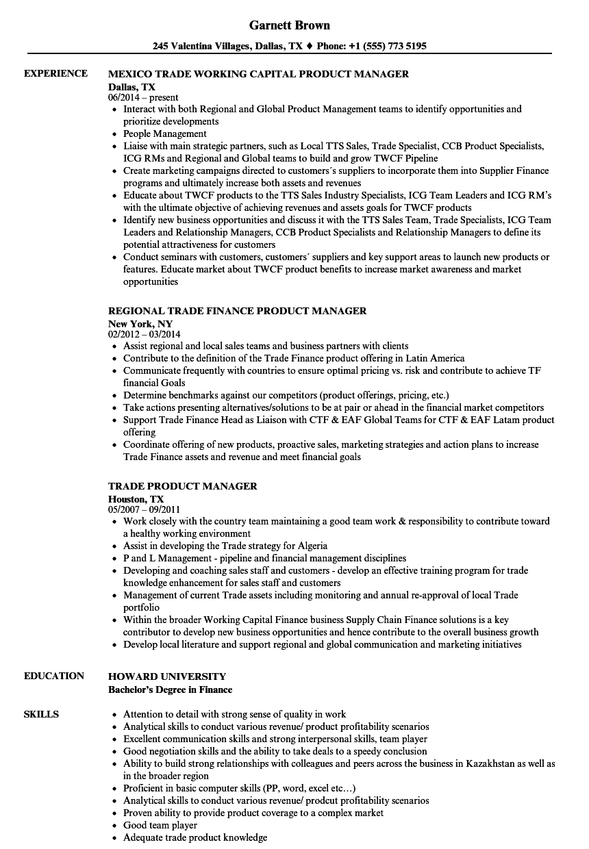 Trade Product Manager Resume Samples Velvet Jobs