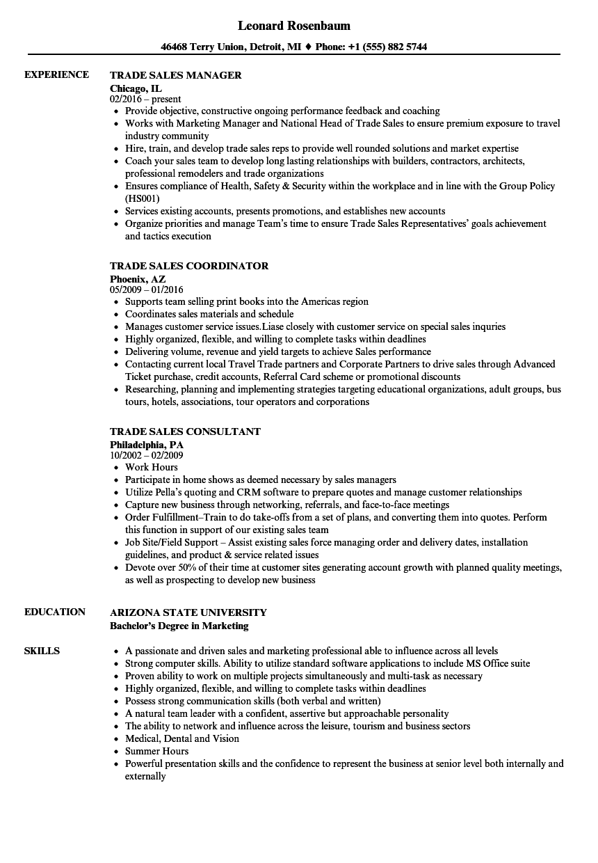Trade resume examples
