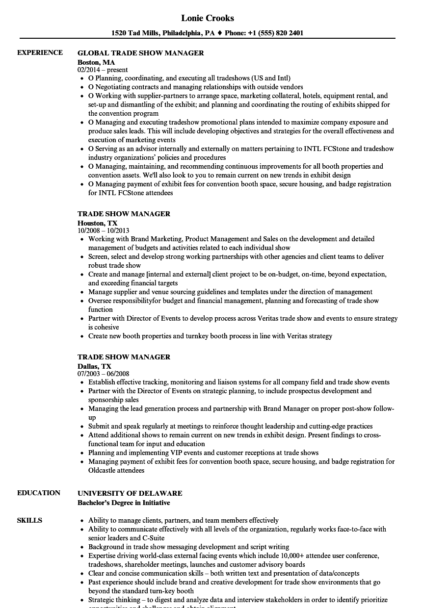 trade show manager resume samples velvet jobs