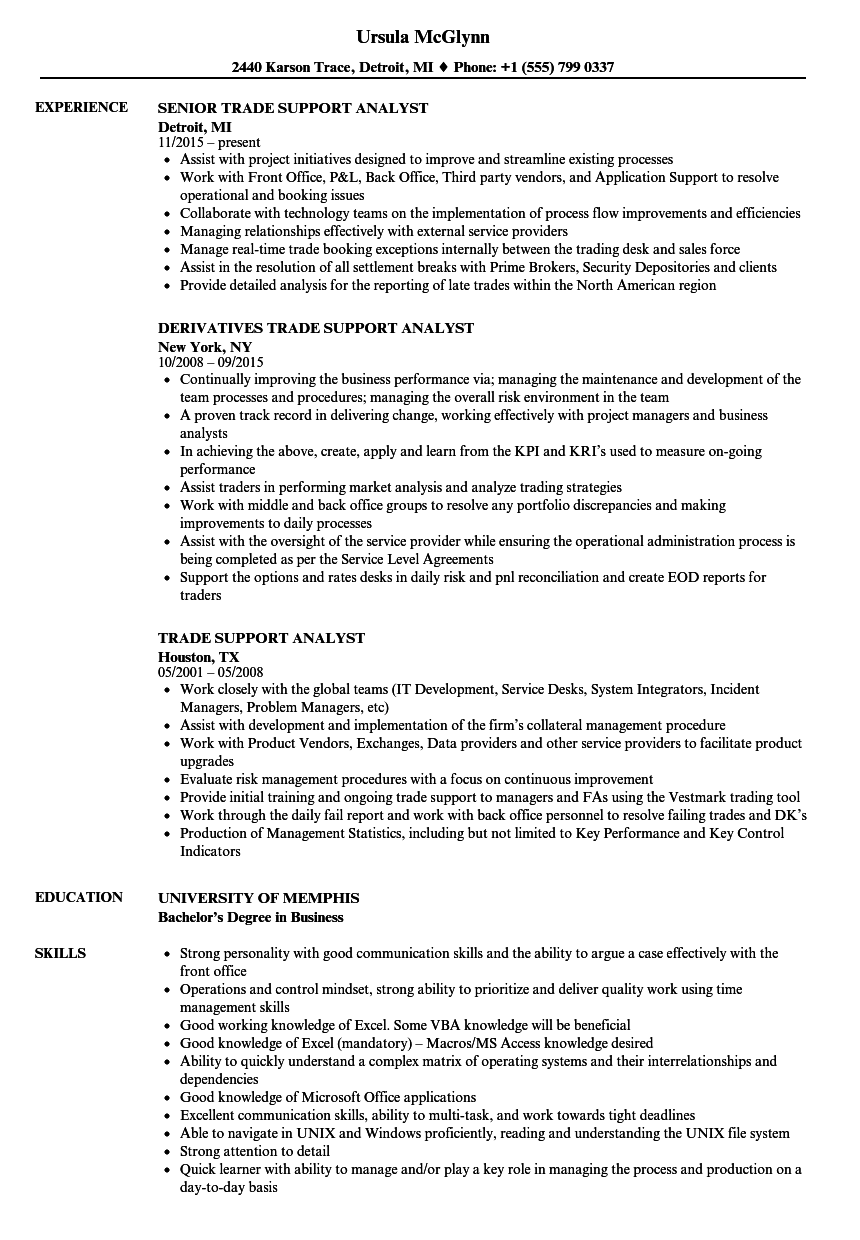 trade support analyst resume samples