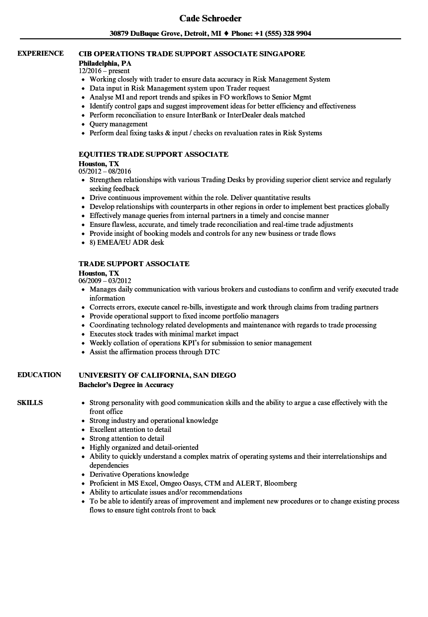 trade support associate resume samples velvet jobs