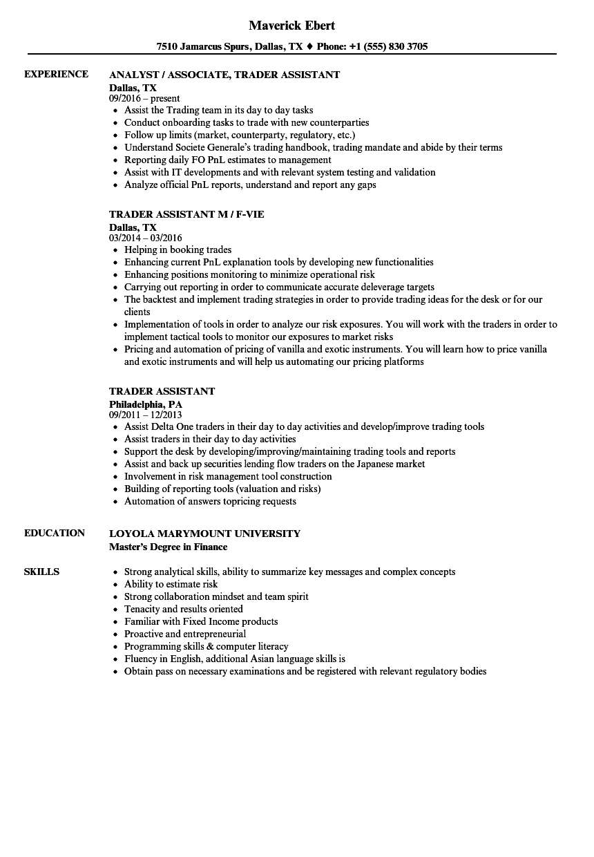 Download Trader Assistant Resume Sample As Image File