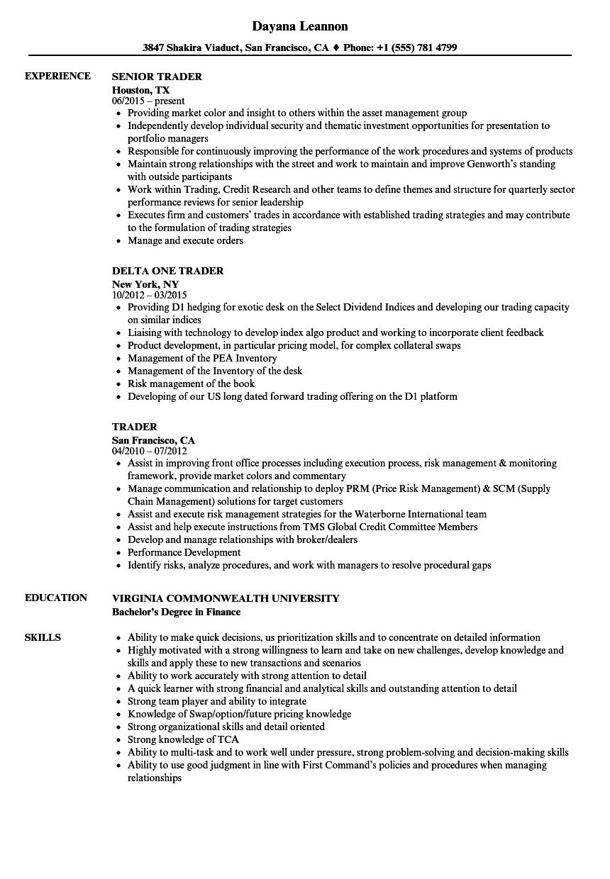Trader Resume Samples Velvet Jobs