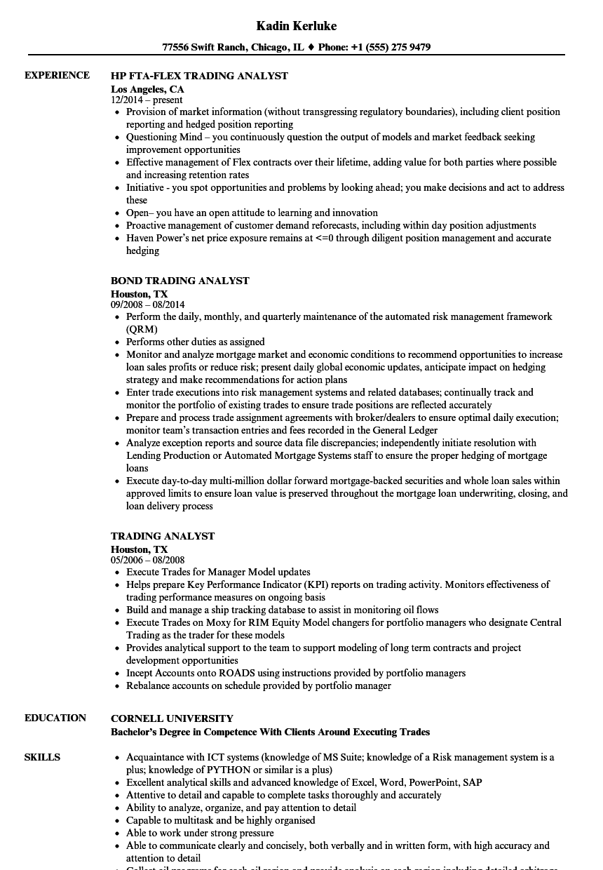 trading analyst resume samples velvet jobs