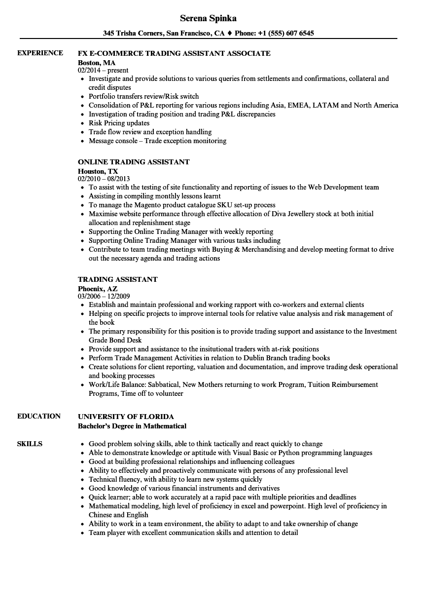 trading assistant resume samples
