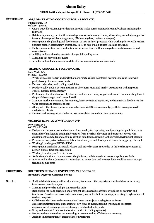 trading associate resume samples