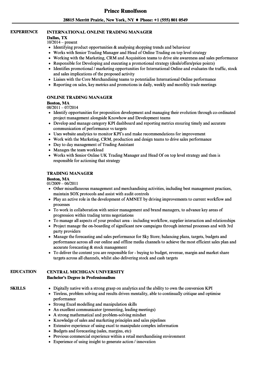 trading manager resume samples