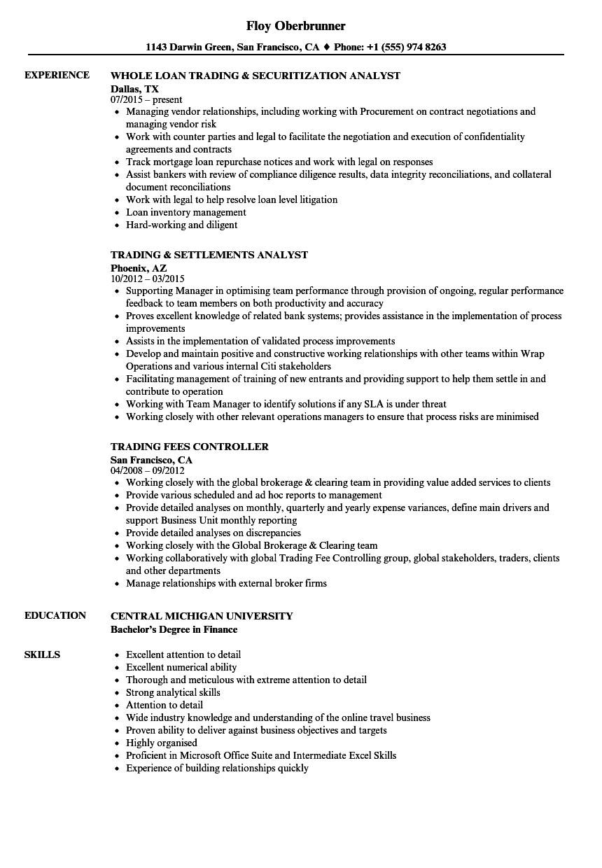 Derivatives Trader Resume Samples | Velvet Jobs